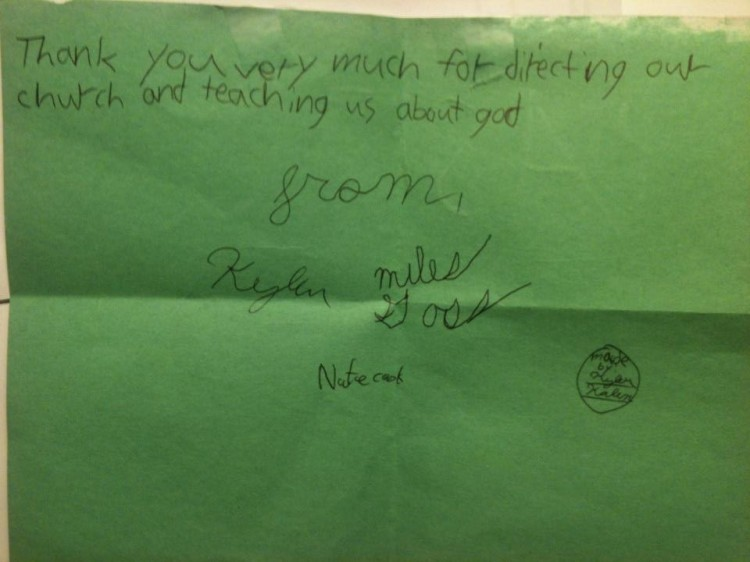 A note from some of the young ones.