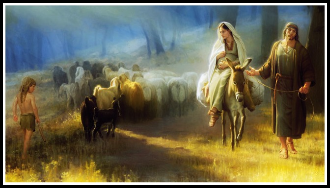 pregnant-mary-on-donkey-and-joseph-travel-to-judia